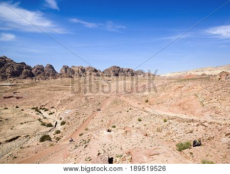 Landscape of Petra Valley the capital city of the Nabataeans Petra Jordan