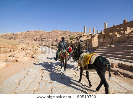 Petra Jordan - 9 March 2017: Tourists horse carries on the colonnaded street Petra Jordan 9 March 2017