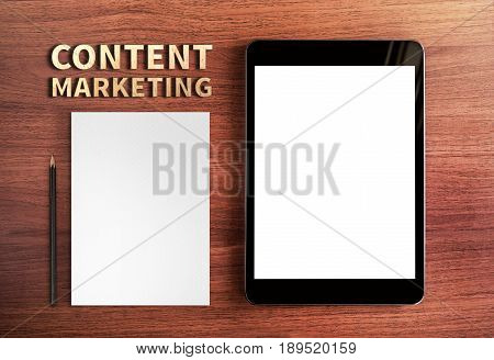 Top view of Content Marketing word and tablet and pencilwhite paperDigital business conceptMock up for adding your content,3d rendering