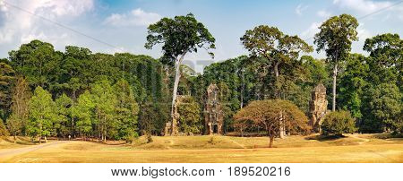 Prasat Suor Prat is located at eastern side of royal square in Angkor Thom right in front of Terrace of Elephants and Terrace of Leper King, Siem Rea,p Cambodia. Khmer architecture, World Heritage