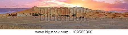 Panorama from the Erg Chebbi desert in Morocco Africa at sunset