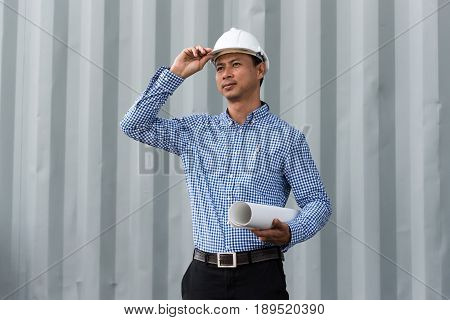 Civil Engineer Builder At Construction Site
