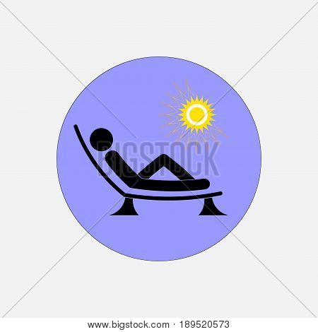 icon man resting on a deck chair beach vacation spot fully editable vector image