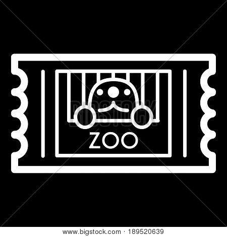 Zoo ticket simple vector icon. Black and white illustration of ticket. Outline linear animal icon. eps 10