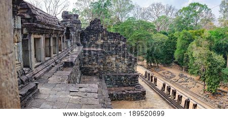 The view from the window of the Baphuon Temple in Angkor Complex, Siem Reap, Cambodia. Ancient Khmer architecture and famous Cambodian landmark, World Heritage