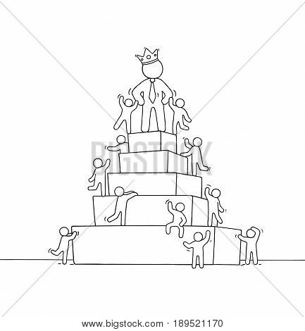 Sketch of working little people with pyramid and big boss. Doodle cute miniature scene of workers about leadership. Hand drawn cartoon vector illustration for business design.