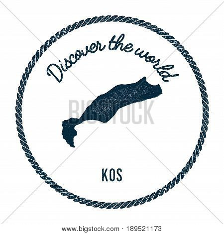 Kos Map In Vintage Discover The World Insignia. Hipster Style Nautical Postage Stamp, With Round Rop