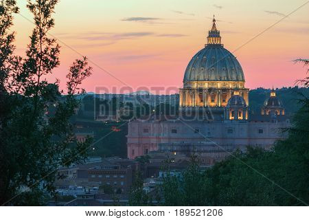 Italian architectural masterpiece during pink summer sunset in Rome