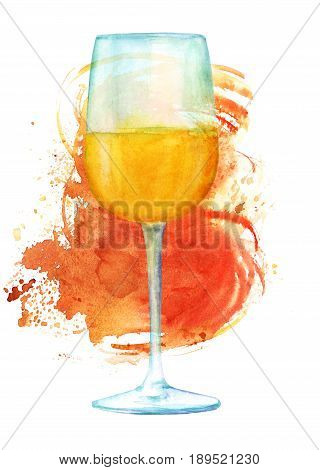 A watercolor drawing of glass of white wine with a bronze brush stroke, with a place for text
