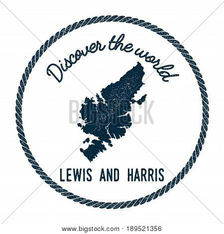 Lewis And Harris Map In Vintage Discover The World Insignia. Hipster Style Nautical Postage Stamp, W