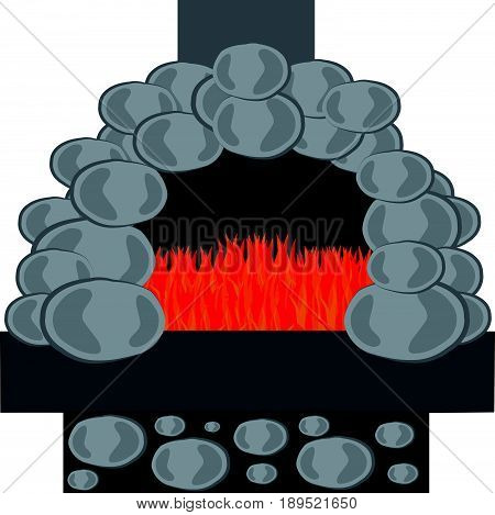 Stone furnace with fire isolated on white background. Vector illustration.
