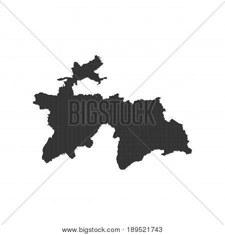 Tajikistan map silhouette on the white background. Vector illustration
