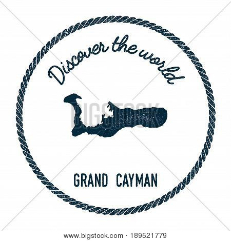 Grand Cayman Map In Vintage Discover The World Insignia. Hipster Style Nautical Postage Stamp, With