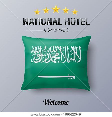 Realistic Pillow and Flag of Saudi Arabia as Symbol National Hotel. Flag Pillow Cover with flag design