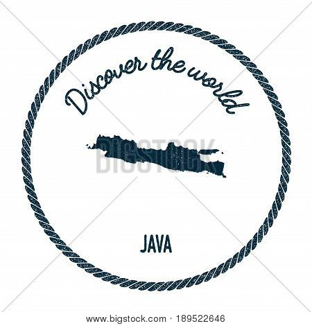 Java Map In Vintage Discover The World Insignia. Hipster Style Nautical Postage Stamp, With Round Ro