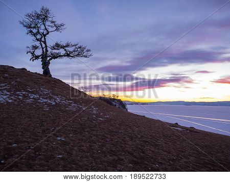 Twilight at the Cape of Shamanka on Olkhon Island in Lake Baikal Russia