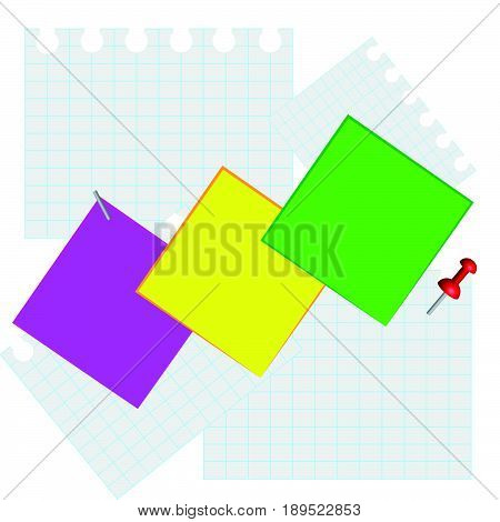 Notice board with color 3D pins isolated on white background. Vector illustration.