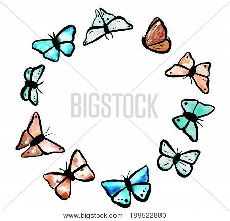 A set of abstract freehand watercolour butterflies in teal blue and rusty brown, scalable vector drawings