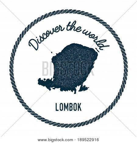 Lombok Map In Vintage Discover The World Insignia. Hipster Style Nautical Postage Stamp, With Round