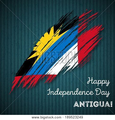 Antigua Independence Day Patriotic Design. Expressive Brush Stroke In National Flag Colors On Dark S