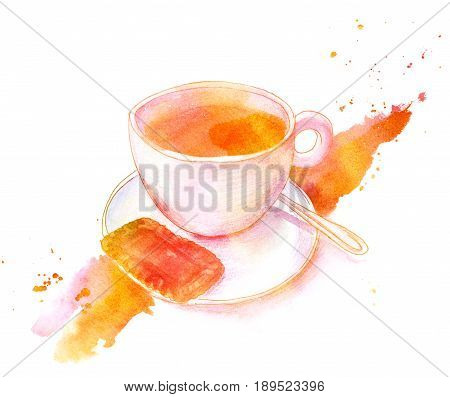 A golden toned watercolour and pencil drawing of a cup of coffee with a biscuit, hand painted on white background with a grunge texture. Breakfast illustration