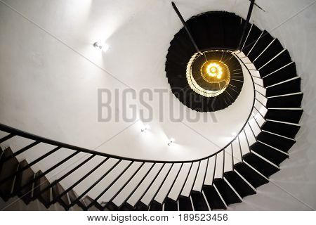 Spiral staircase in Thailand building. Upside view