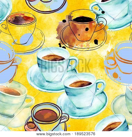 A seamless coffee pattern with freehand watercolour and ink drawings of coffee cups on a golden yellow background