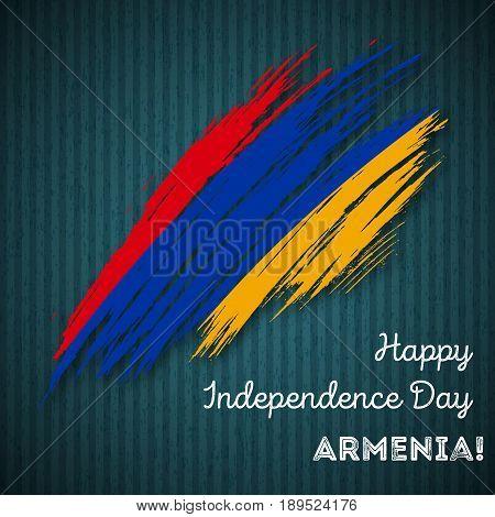 Armenia Independence Day Patriotic Design. Expressive Brush Stroke In National Flag Colors On Dark S