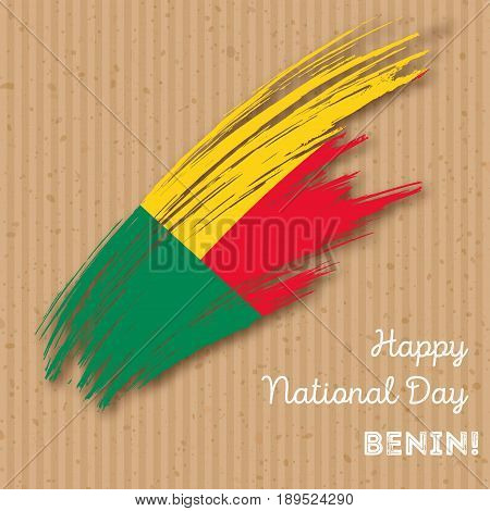 Benin Independence Day Patriotic Design. Expressive Brush Stroke In National Flag Colors On Kraft Pa