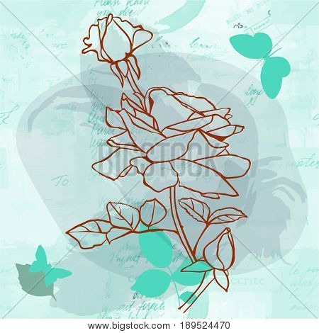 A line vector drawing of a bouquet of roses with buds and leaves, on a teal blue background with watercolor splashes and butterflies, on faded old letters