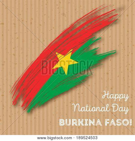Burkina Faso Independence Day Patriotic Design. Expressive Brush Stroke In National Flag Colors On K