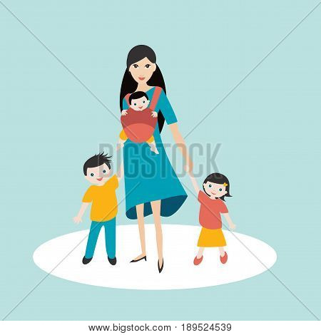 Mother walking with children, son and daughter and new born baby in a baby carrier, sling.