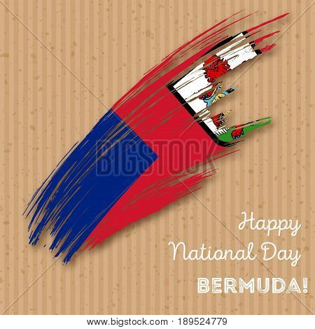 Bermuda Independence Day Patriotic Design. Expressive Brush Stroke In National Flag Colors On Kraft