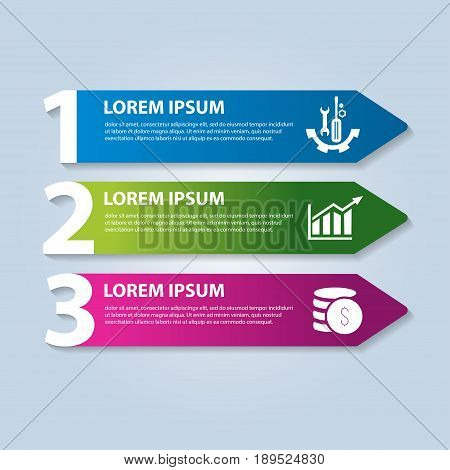 Vector Illustration In The Form Of Arrows And Numbers. Infographics With 3 Steps And Arrows For Web