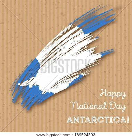 Antarctica Independence Day Patriotic Design. Expressive Brush Stroke In National Flag Colors On Kra