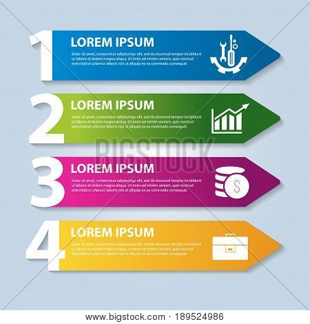 Vector Illustration In The Form Of Arrows And Numbers. Infographics With 4 Steps And Arrows For Webs