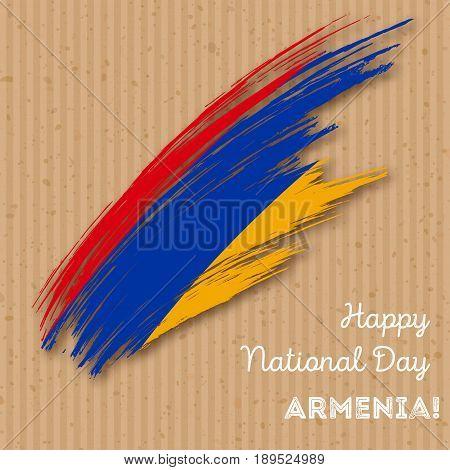 Armenia Independence Day Patriotic Design. Expressive Brush Stroke In National Flag Colors On Kraft