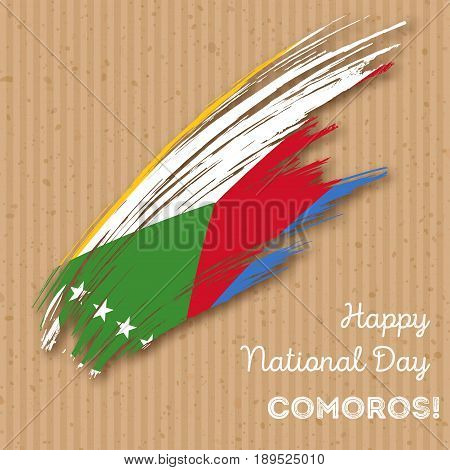 Comoros Independence Day Patriotic Design. Expressive Brush Stroke In National Flag Colors On Kraft
