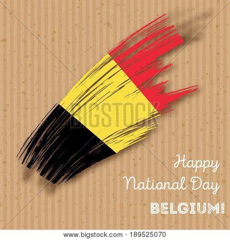 Belgium Independence Day Patriotic Design. Expressive Brush Stroke In National Flag Colors On Kraft