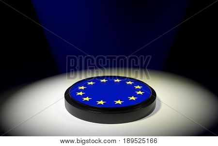 The push button with EU flag. 3D rendering.