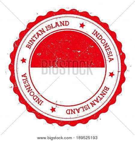 Bintan Island Flag Badge. Vintage Travel Stamp With Circular Text, Stars And Island Flag Inside It.