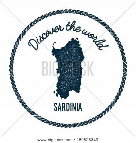 Sardinia Map In Vintage Discover The World Insignia. Hipster Style Nautical Postage Stamp, With Roun