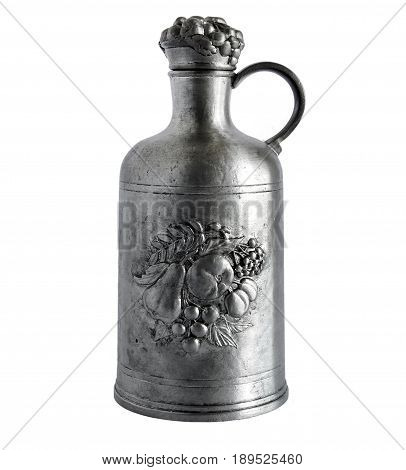 Antique pewter decanter with a beautiful relief isolated on white background