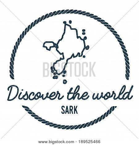 Sark Map Outline. Vintage Discover The World Rubber Stamp With Island Map. Hipster Style Nautical In