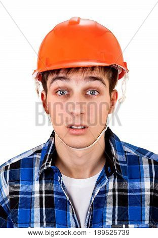Young Man in Hard Hat Isolated on the White Background