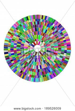A circle filled with geometric shapes, mosaic effect, brilliance and cut of the gemstone. Vector illustration