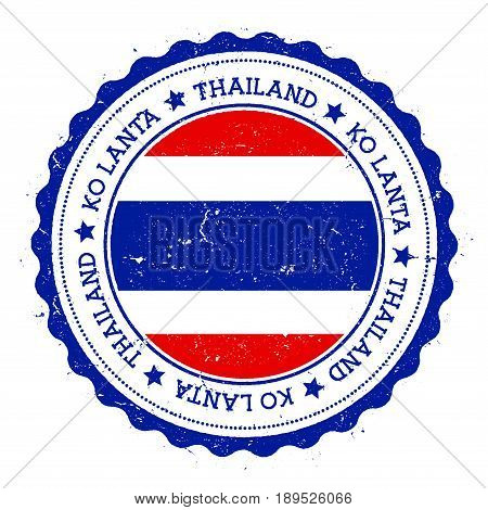 Ko Lanta Flag Badge. Vintage Travel Stamp With Circular Text, Stars And Island Flag Inside It. Vecto