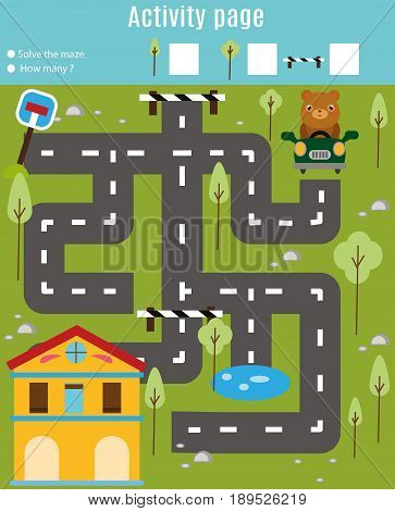 Activity page for kids. Educational game. Maze and find objects theme. Help bear go through the labyrinth and find home. Fun for preschool years children