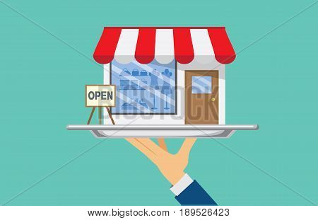 Hand holding silver tray which have a shop. This Illustration about SME concept.