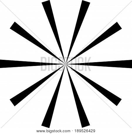 Sunburst starburst shape black on white. Rays beams design element. Radiating merging lines radial . Abstract circular geometric figure. Vector illustration. Dynamic style.